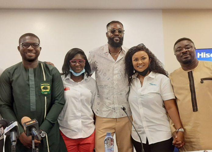 Kotoko CEO Nana Yaw Amponsah with Evelyn Nsiah Asare and Hisense ambassador Emmanuel Adebayor, Nana Ama McBrown and Okyeame Quophi