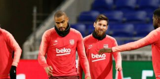 Kevin Prince-Boateng training with Barcelona teammates
