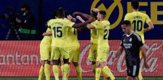 Villarreal's players celebrate after scoring a goal during the Spanish League football match between Villarreal and Real Madrid at La Ceramica stadium in Vila-real on November 21, 2020. Image credit: Getty Images