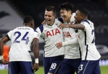 Tottenham Hotspur's Argentinian midfielder Giovani Lo Celso (2nd L) celebrates with teammates after scoring their second goal during the English Premier League football match between Tottenham Hotspur and Manchester City at Tottenham Hotspur Stadium Image credit: Getty Images