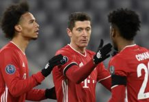 Bayern Munich's German midfielder Leroy Sane, Bayern Munich's Polish forward Robert Lewandowski and Bayern Munich's French forward Kingsley Coman Image credit: Getty Images