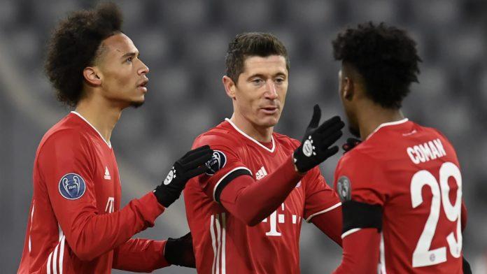 Bayern Munich's German midfielder Leroy Sane, Bayern Munich's Polish forward Robert Lewandowski and Bayern Munich's French forward Kingsley Coman Image credit: Getty Images