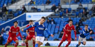Pascal Gross of Brighton and Hove Albion scores a penalty for his team's first goal during the Premier League match between Brighton & Hove Albion and Liverpool at American Express Community Stadium on November 28, 2020 in Brighton Image credit: Getty Images