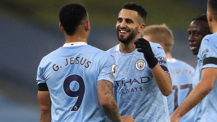 Riyad Mahrez celebrates scoring for Manchester City Image credit: Getty Images