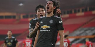 Edinson Cavani celebrates the winner for United Image credit: Getty Images