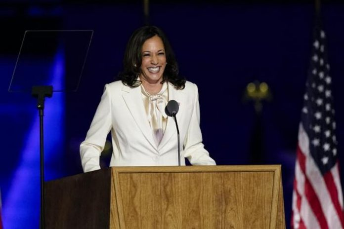 Ms Harris made history as the first female, first black and first Asian-American US vice-president-elect