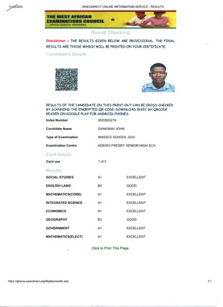WASSCE results of student