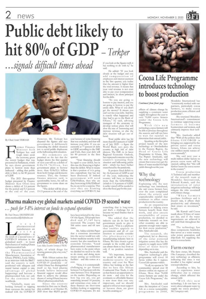 Newspaper headlines of Monday, November 2, 2020 24