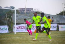 Joseph Esso celebrating his first goal for Dreams FC