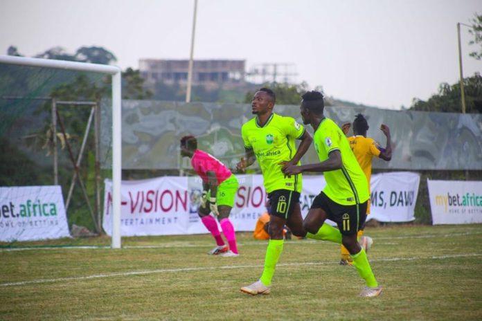 Joseph Esso celebrating his first goal for Dreams FC
