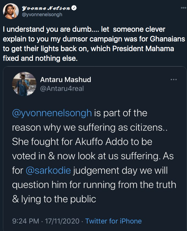 Mahama fixed 'dumsor' before leaving office in 2016 - Yvonne Nelson sets the record straight | Adomonline.com