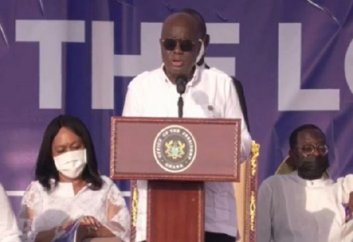 Akufo-Addo delivering a short speech at the thanksgiving ceremony
