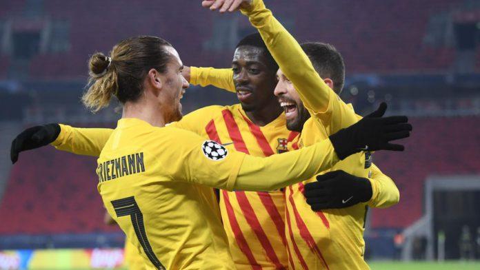 Barcelona celebrate scoring against Ferencvaros Image credit: Getty Images