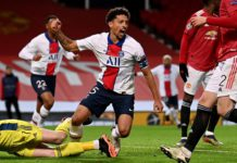 Marquinhos celebrates scoring for PSG against Manchester United Image credit: Getty Images