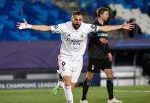 Real Madrid's French forward Karim Benzema celebrates after scoring during the UEFA Champions League group B football match between Real Madrid and Borussia Moenchengladbach at the Alfredo Di Stefano stadium in Valdebebas, northeast of Madrid, on December Image credit: Getty Images