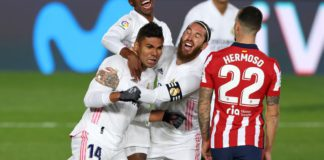Carlos Henrique Casemiro, Sergio Ramos (Real Madrid) y Mario Hermoso (Atlético) Image credit: Getty Images