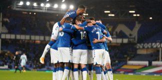Gylfi Sigurdsson of Everton (hidden) celebrates with teammates Image credit: Getty Images