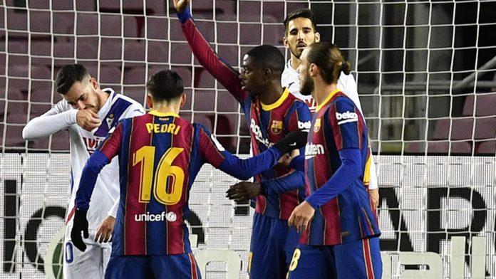 Ousmane Dembele celebrates scoring for Barcelona against Eibar Image credit: Getty Images