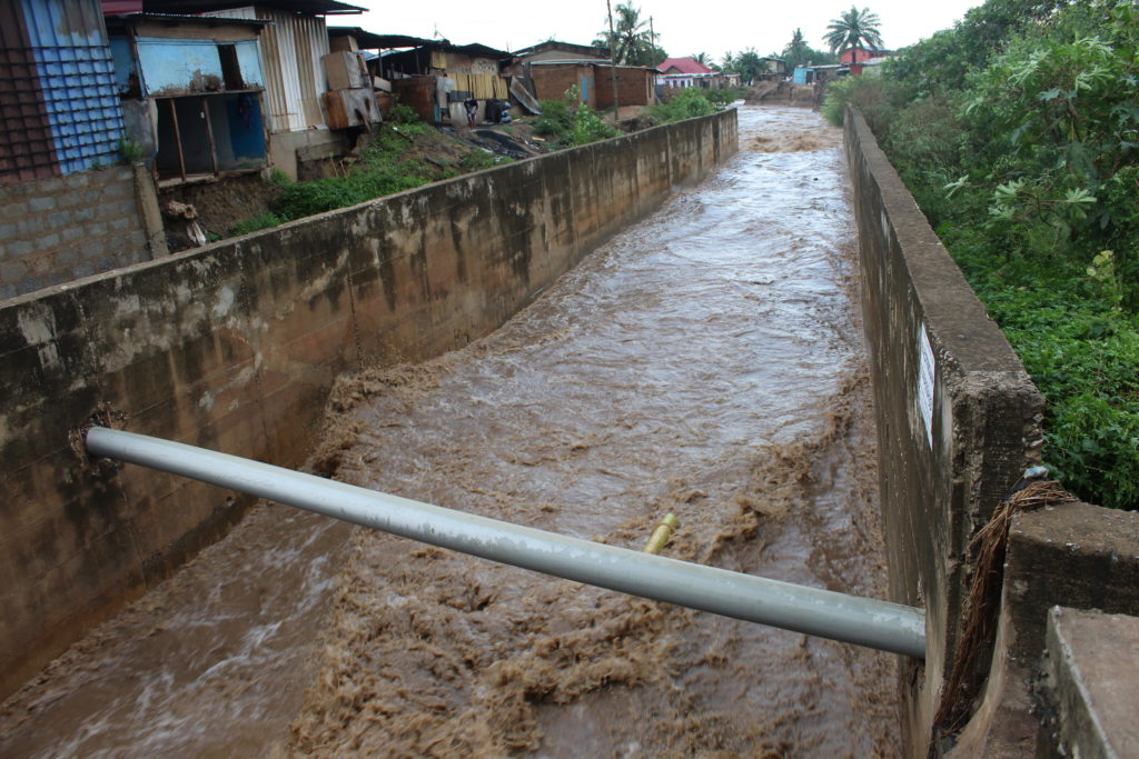Gutter almost full after downpour in Dome  - Photo by Patience Korkor Hesse / Adom News