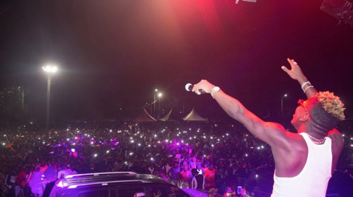 Shatta Wale at Hohoe victory concert organized by Energy Minister Peter Amewu in December 2020