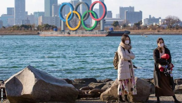 Olympic signs are in place in Tokyo