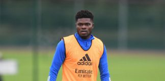 """Arteta said Partey """"is in a good place"""" as he continues his recovery from a thigh injury"""