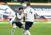 Toby Alderweireld of Tottenham Hotspur celebrates with teammate Son Heung-Min of after scoring their team's third goal during the Premier League match between Tottenham Hotspur and Leeds United at Tottenham Hotspur Stadium on January 02, 2021 in London, E Image credit: Getty Images
