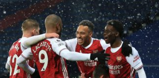 Bukayo Saka of Arsenal celebrates scoring their 2nd goal with Emile Smith Rowe, Alexandre Lacazette, Pierre-Emerick Aubameyang and Dani Ceballos during the Premier League match between West Bromwich Albion and Arsenal at The Hawthorns Image credit: Getty Images