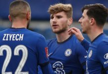 Chelsea's German striker Timo Werner (2R) celebrates with team-mates after scoring their second goal during the English FA Cup third round football match between Chelsea and Morecambe at Stamford Bridge Image credit: Getty Images