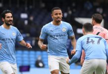 Manchester City's Brazilian striker Gabriel Jesus (C) celebrates scoring the opening goal during the English Premier League football match between Manchester City and Sheffield United at the Etihad Stadium Image credit: Getty Images