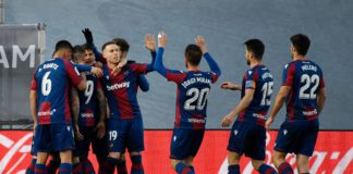 Levante's Spanish forward Roger Marti (2L) is congratulated after scoring his team's second goal during the Spanish league football match Real Madrid CF against Levante UD at the Alfredo di Stefano stadium in Valdebebas, on the outskirts of Madrid on Janu Image credit: Getty Images
