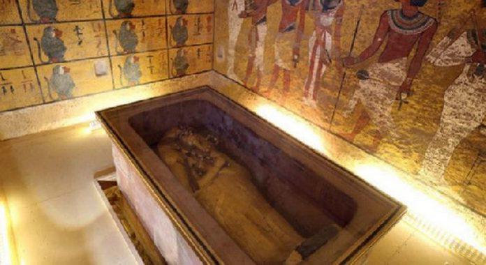 The golden sarcophagus of King Tutankhamun in his burial chamber in the Valley of the Kings