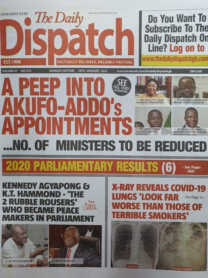 Newspaper headlines of Tuesday, January 19, 2021 68