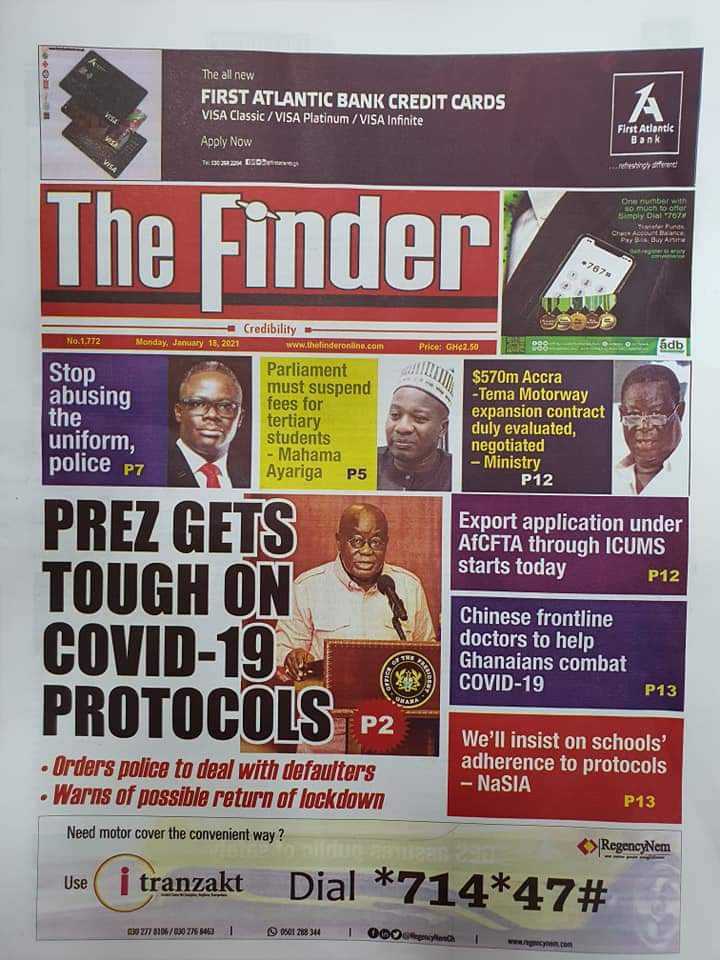 Newspaper headlines of Tuesday, January 19, 2021 66