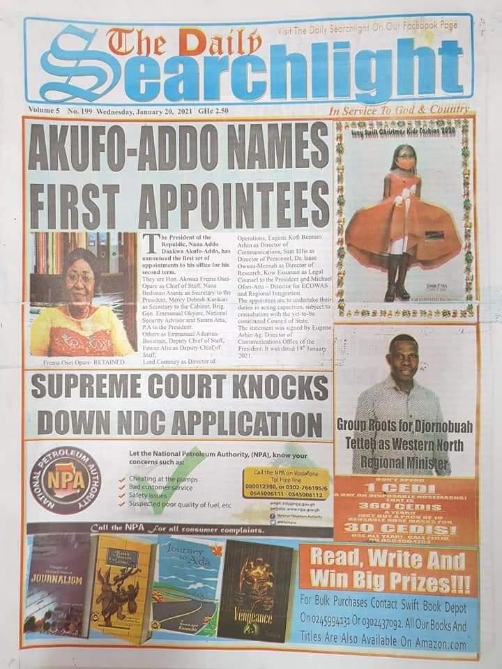 Newspaper headlines of Wednesday, January 20, 2021 29