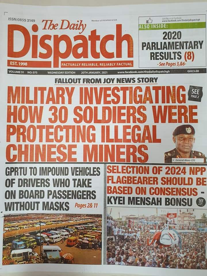 Newspaper headlines of Wednesday, January 20, 2021 28