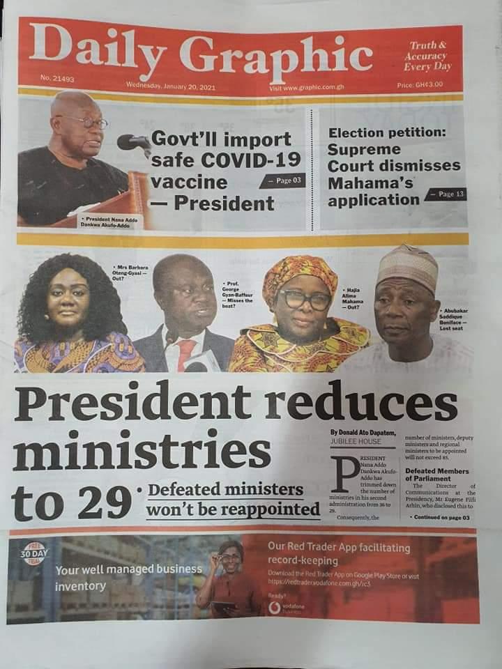 Newspaper headlines of Wednesday, January 20, 2021 26