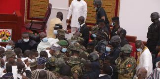 military storm parliament