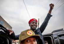 Robert Kyagulanyi Ssentamu, also known as Bobi Wine, addresses supporters in Uganda's capital Kampala. Photo by Luke Dray/Getty Images