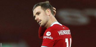 Henderson was forced off in the 29th minute against Everton