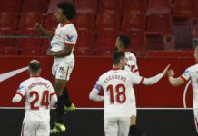 Jules Kounde of Sevilla celebrates after scoring their side's first goal during the Copa del Rey Semi Final First Leg match between Sevilla and FC Barcelona at Estadio Ramon Sanchez Pizjuan on February 10, 2021 in Seville, Spain Image credit: Getty Images