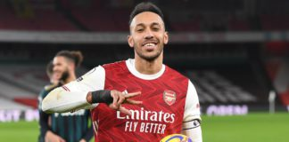 Pierre-Emerick Aubameyang holds the match ball Image credit: Getty Images