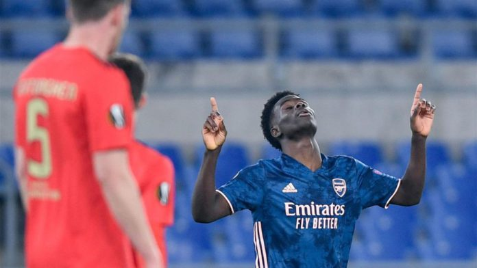 Bukayo Saka of Arsenal FC celebrates after scoring first goal during the UEFA Europa League round of 32 Leg 1 Image credit: Getty Images