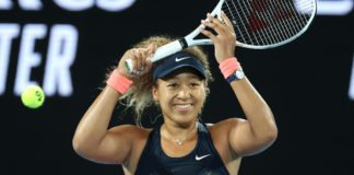 Japan's Naomi Osaka celebrates winning against Jennifer Brady of the US during their women's singles final match on day thirteen of the Australian Open tennis tournament in Melbourne Image credit: Getty Images