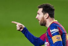 Lionel Messi of FC Barcelona celebrates after scoring his team's opening goal during the La Liga Santander match between FC Barcelona and Elche CF at Camp Nou on February 24, 2021 Image credit: Getty Images