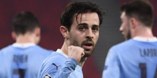 Bernardo Silva celebrates scoring for Manchester City Image credit: Getty Images
