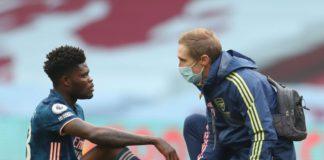 Thomas Partey sustains injury against Aston Villa