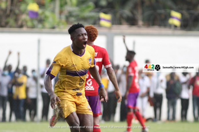 Justice Blay celebrates against Hearts of Oak