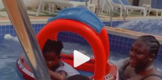 Tracey Boakye and her kids enjoy pool time
