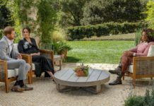The interview took place in the garden of a house near where the couple live in Montecito, west of Los Angeles